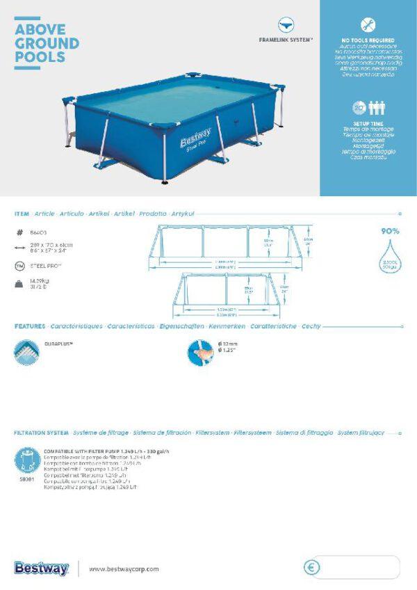 Bestway Steel pro rechthoek 259x170x61cm